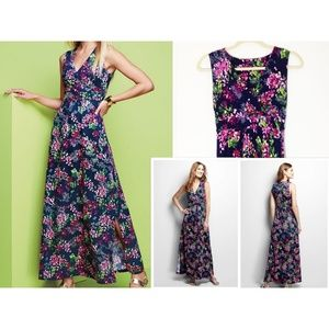 Navy Blue Pink Green Knit Floral Maxi Dress